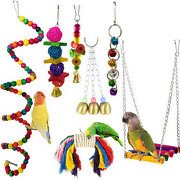 Papagaios amor on-line-Parrot Toy Bird Cage balanço Hammock Pet Pendurado sino pendurado brinquedo Papagaio do Macaw de amor do pássaro Finch 7pcs Supplies yq01054