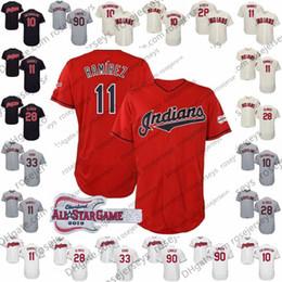 Maillot ramirez online-Camisetas personalizadas de los indios 2019 Cleveland # 11 José Ramírez 12 Lindor 28 Kluber 41 Carlos Santana 66 Yasiel Puig All-Star Rojo Azul marino Blanco Gris