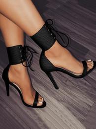 Ботинки платья ботинок лодыжки онлайн-XingDeng Женщины Крокодил Pattern Лодыжки Wrap Высокие каблуки Сандалии Обувь Женская вечеринка Сексуальная Бинты зашнуровать Змея Pattern Dress Shoes