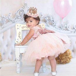 nuevo diseño de vestido corto para niña Rebajas Baby Girl Dress Wedding Costume Infant Princess tutu Dresses Baby Girl 1 Year Birthday Party Clothes Girls Baptism Clothing