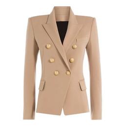 Blazers de escritório on-line-Outono Inverno 2018 Runway Designer Formalmente Blazer Mulheres Gold Lion Botões Abotoamento Ladies Escritório Casacos Brasão Clothes