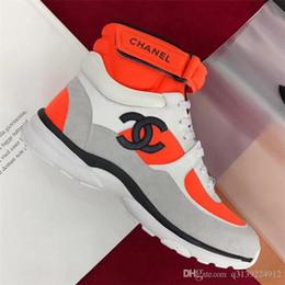 2019 sapatilhas de salto alto Moda de luxo designer de calçados femininos Ankle Boots Casual Lace-up flats high-top tênis das mulheres splice esportes Clássico sapatos de alta qualidade sapatilhas de salto alto barato