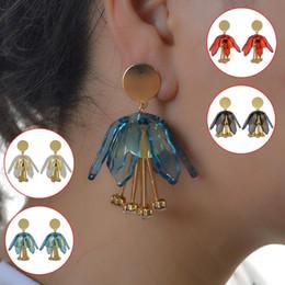 Fiori rossi coreani online-Orecchini da sposa unici Nero Rosso Blu Fiore acrilico Orecchini pendenti in cristallo Metallo dorato per donne Gioielli bijoux coreani
