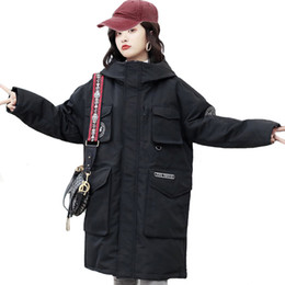 coreano design casacos de inverno Desconto 2019 Novo Design Mulheres Winter Down Jacket Feminino Casaco de Inverno sólidos a granel Oversized com capuz Parka coreano Estilo