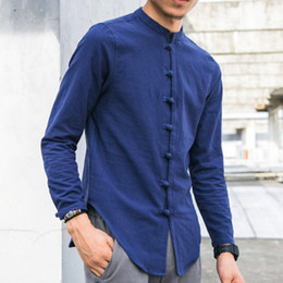 2021 vêtements tang Zeeshant Hommes lin Chemises à manches longues style chinois mandarin col traditionnel Kung Fu Tang sociale Casual Shirt Marque Vêtements vêtements tang pas cher