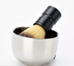 Tazze da barba online-Durevole per uomo in acciaio inox Shave Soap Cup Barber Salon professionale per pennello Shinning Shaving Mug Bowl Face Care Gift