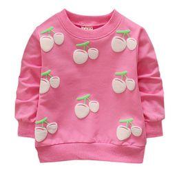 Chica encantadora con capucha online-Sudaderas Cherry Baby Girls Boys Hoodies Toddler Kids Sudaderas Lovely Round Neck Mangas largas Hoodies