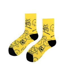 dessin animé couple de conception Promotion Nouveau design Chaussettes animal jaune Illustration Cartoon mode Couple pur coton moyen flexible à la mode Boutique Chaussettes en gros