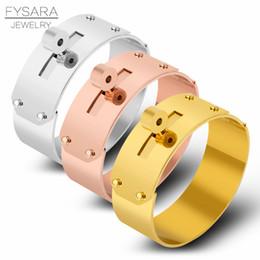21mm knopf online-FYSARA 21mm / 12mm Großen Breiten Knopf Armband Armreif Für Männer Frauen Marke Rock Schmuck Pulseiras Edelstahl Manchette C19010401