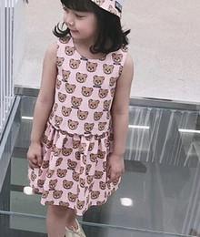 Poco oso ropa online-Niñas Vestidos de chaleco con estampado de oso completo Ropa para niños de moda 2-10 Vestidos de niñas especiales Productos especiales