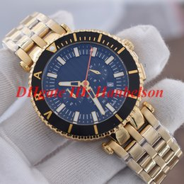 v watches Coupons - Fashion orologio di lusso Men quartz watch Chronograph movement V-Race Diver Gold stainless steel Rotatable bezel Black dial VAK04