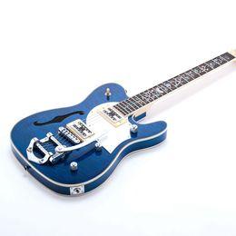 Guitarra electrica hueca f hole online-6 cuerdas Semi Hollow Body F Hole TL Guitarra eléctrica BY Bridge Flower Inlay Acolchado Maple ESPECIFICACIONES Diapasón de palisandro
