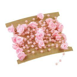 Измерительная цепь онлайн-5 Meters Fishing Line Artificial Pearls Flower  Chain Garland Flowers Wedding Party Decoration Pink