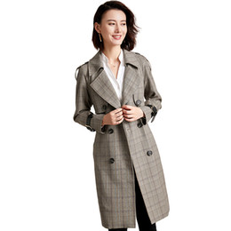 6863e22f4be Retro Double-breasted Plaid Trench Coat Women Fashion Suit Collar Classic  Office Lady Coat 2019 New Arrival Spring Long Coats