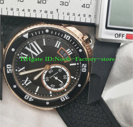 ver réplicas Rebajas Disparo de fábrica hombres reloj 42mm zafiro vidrio relojes automáticos esfera negra oro rosa wrisrwatch réplica de correa de cuero reloj de regalo