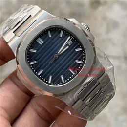 Relógio digital transparente on-line-Com caixa portátil Top Luxury Watch Azul Dial Ásia 2813 Movimento 40mm 5711 / 1A 5711 Mecânica Automática Transparente Mens Relógios Relógios De Pulso