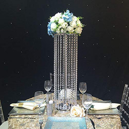 wedding centerpieces candles flowers Promo Codes - Luxury Crystal Table Centerpieces Flower Vase for Decorating Wedding Flowers Candle Decoration Metal Stand Walkway Decor