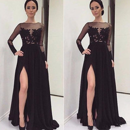 2019 New Elegant Evening Dresses Vestidos De Noche A Line Open Leg Prom Dresses Party Gowns Formal Dresses With Long Sleeve Dubai 61