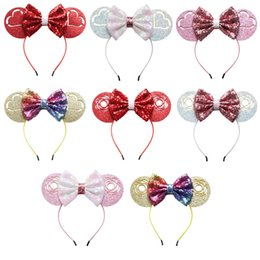 hair hoop stick Promo Codes - New style sequins big bow Headband hair accessories, Baby Mickey ear modeling hoop, Hair Stick holiday decorations.