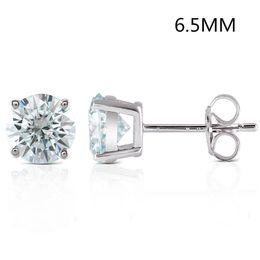 Tachuelas de diamante de platino online-Transgems 2ctw 6.5mm Ligero Laboratorio azul Crecido Moissanie Diamond Stud Earrings Platinum Platinum Silver Push Back para mujeres J 190427
