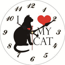 watches cat designs Coupons - My Cat Design Wall Clock Silent Living Study Corridor Room Decoration Home Decor Wall Watches Vintage Large Clock 4 Size