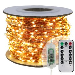 Wholesale Luces de cadena LED más largas m m m calle guirnalda Luz de Navidad Luces de hadas de Navidad al aire libre Luz blanca estrellada Adaptador de EU EE