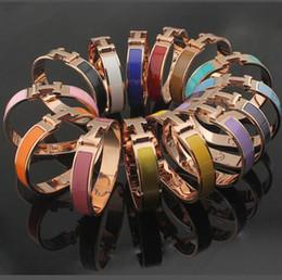 pulseiras de letra k Desconto Rose Gold preço de atacado 12 MM H titanium pulseira de aço 18 K pulseira de ouro H carta homens e mulheres casal pulseira