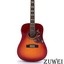 Chitarre elettriche rosse del corpo solido online-12 corde LYL2026YY chitarra acustica elettrica Fishman EQ solido abete rosso top rosso laminato sapele indietro