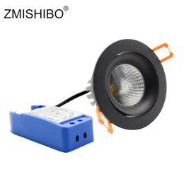 schwarzes leichtes zuckerguss Rabatt ZMISHIBO LED Spot 220-240V Dimmbare Driver Frosted Black Downlights Austauschbare COB-Lichtquelle 75 mm Deckeneinbauleuchte