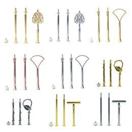 Tier stand online-100 sets Bolsa Mezcla Patrones Differnet Oro Rosa Plata y Oro Soporte de pastel de 3 niveles Montaje de pastel de montaje Asas