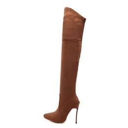 Stivali alti al ginocchio per le donne sottili online-Stivali Moda sopra gli stivali al ginocchio 2019 Autunno Inverno Donna Stretch Tacchi alti Tacchi alti Scarpe Donna Sapatos Scarpe