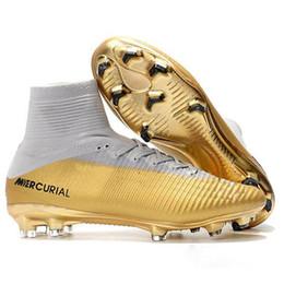 2019 CR7 Scarpe da calcio in oro bianco CR7 Tacchetti da calcio Mercurial Superfly FG V Scarpe da calcio per bambini Cristiano Ronaldo Scarpe sportive