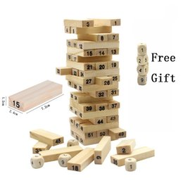 Blocchi digitali in legno 54 pz / set Modello di edificio impilabile Tower Environment-friendly Wood Finish Machining Bambini Puzzle Toy da torta in miniatura all'ingrosso fornitori