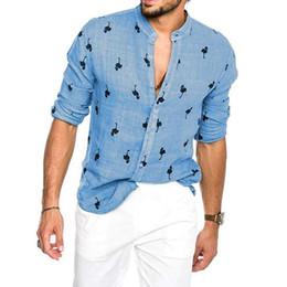 Бель и пуговицы онлайн-Новый Oeak Гавайский Flamingo печати Рубашка Кнопка сорочка с длинным рукавом Hombre тонкий вскользь Летняя льняная рубашка Blusa Masculina
