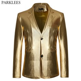 mens shiny suits jackets Coupons - Mens Shiny Gold Metallic Glitter Suit Jacket Men Nightclub Single Breasted Suit Blazer Men DJ Stage Singer Blazers Costumes XXL