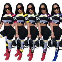 Sterne hemden hip hop kleidung online-2019 sommer Brief stern gedruckt trainingsanzug crop top sets kurzarm T-shirt t lange hosen freizeitanzug hip-hop street sportbekleidung kleidung
