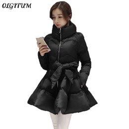 bat clothing Promo Codes - 2019 New Women Long Coat Autumn Winter Down And Parkas padded jacket Bow Waist Fluffy Skirt A women clothes