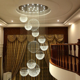 2019 gran vestíbulo de iluminación Lámpara moderna Lámpara de cristal grande para vestíbulo Escaleras Escalera Vestíbulo Lámpara de techo con brillo espiral largo Lámpara de escalera montada al ras gran vestíbulo de iluminación baratos