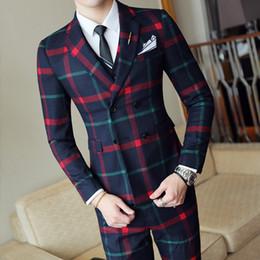 2019 graue hochzeitsanzüge rote krawatte Herrenanzüge im Frühjahr und Herbst neue Zweireiheranzug dreiteiliger Anzug (Jacke + Hose + Weste) Männer Business Casual Anzug