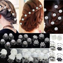 diadema de plástico para niñas grandes accesorios para el cabello Rebajas 12pcs / Lot La boda nupcial de cristal de imitación de pelo de la flor de la perla pernos tuerce Bobinas espiral del remolino de las horquillas de Headwear accesorios de joyería