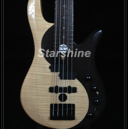 mahogany guitars electric Coupons - Starshine 5 Strings Electric Bass Guitar CC5-YY Rosewood with Flamed Maple Top Maple Neck Black Hardware