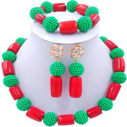 2020 grüne korallenhalskette Handgemachte grüne rote afrikanische Vintage Frauen Korallen Halskette Schmuck Sets für Engagement 1C-ZZSH-04 rabatt grüne korallenhalskette