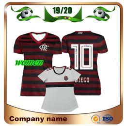 Uniforme de fútbol femenino online-19/20 Camiseta de fútbol Flamengo para mujer 2019 Casa # 10 DIEGO Camiseta de dama de fútbol E.RIBEIRO GUERRERO Camiseta blanca de visitante de manga corta