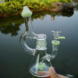 Мини-стеклянные шарики онлайн-Glow In The Dark Ball Мини Dab Rig Душевая насадка Перколятор Стеклянный стакан Бонги Разрезанные Кольцевые Perc Стеклянные водопроводные трубы с 14 мм стеклянной чашей