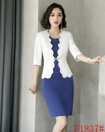 nuevo diseño uniforme Rebajas Nuevo estilo Blazer blanco Mujer Trajes de negocios Trajes de oficina formales Vestidos de dama y conjuntos de chaqueta Diseños de uniformes de oficina