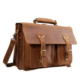 Maletín de cuero genuino Messenger Bag Hot Sell Satchel para hombres Vintage Business 16 '' Laptop Bag Luxury Bag (Brown) desde fabricantes
