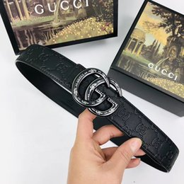 disegni della cintura di castità maschile Sconti Cintura alta qualità per uomo Cintura liscia fibbia per uomo Cintura design per cinture uomo Cintura nera in vera pelle senza scatola RT68a