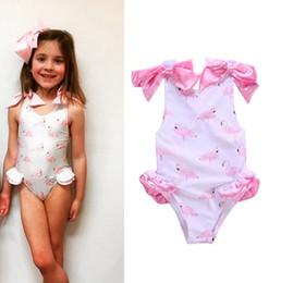 niedliche baby-badeanzüge Rabatt Baby Mädchen Bademode Flamingos Gedruckt Kinder Badeanzug Ein Stück Nette Mädchen Bogen Beachwear Bikini Badeanzug Schwimmen Kinder Kleidung YW2311