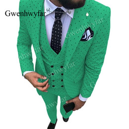 abotoamento coletes verdes Desconto Gwenhwyfar 2019 homens manchado terno 3 peças Casual Light Green Slim Fit Double Breasted colete smoking padrinhos smoking para festa