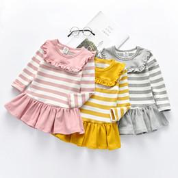 Jahre altes kleid lässig online-Langarm gestreiften Mädchen Kleid für Herbst Winter Mädchen Freizeitkleidung Navy Kleid Größe 18M bis 10 Jahre alt